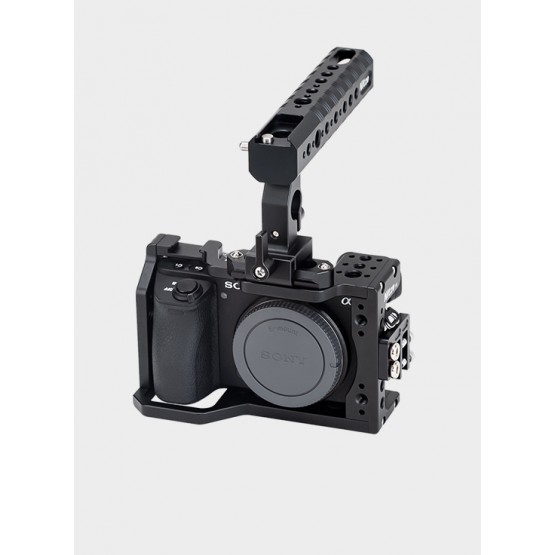 Nitze Basic Camera Cage Kit for Sony A6000/A6300/A6400/A6500 Camera with HDMI Cable Clamp and NATO Handle - SHT-A6
