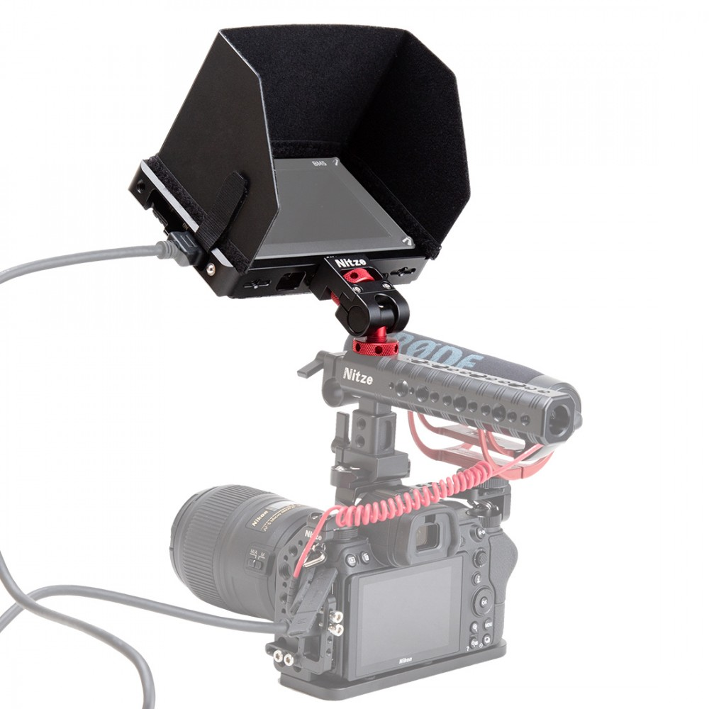 """N54B Nitze Monitor Holder Mount with 1//4/""""Screw ARRI Locating Pins /& Cold Shoe Mount"""